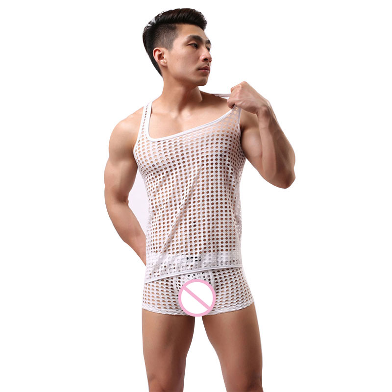 Sexy Costumes Mens Hollow Fishnet Vest Lingerie Breathable Mesh Underwear Set Sexy Pyjama Homme Sleepwear Male Pajamas Suit