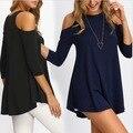 2017 summer Fall Fashion T Shirt Women Tops Womens Clothing Cold Shoulder Long Sleeve Ruffle Trim Casual T-shirt kleding vrouwen