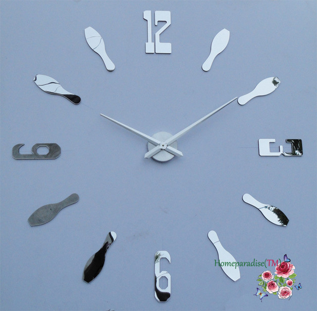 25″- 40″ Arabic Numbers Spoon Luxury DIY Frameless Quartz Non-ticking 3D Mirror Wall Clock Metal Stainless  Oversized Clock