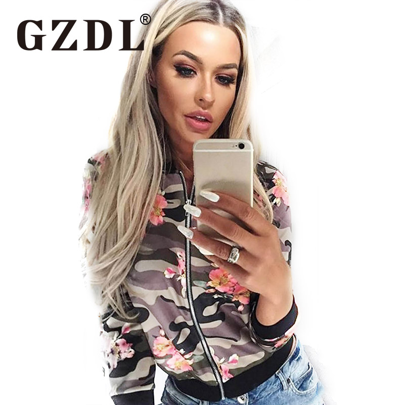 GZDL Spring Autumn Women Floral Basic Jacket Womens Print Outwear Long Sleeve Fashion Zipper Slim Femininas Coat Jackets CL3251