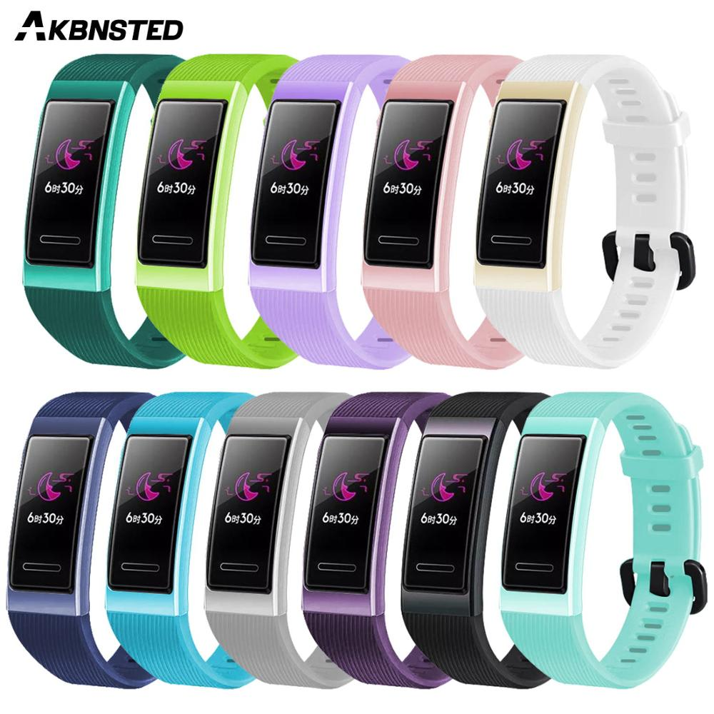 AKBNSTED Soft Silicone Strap For Huawei Band 3 / 3 Pro Smart Wristband Fitness Tracker Smart Watch Sport Bracelet Band Strap