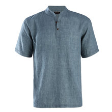 JeeToo Fashion Spring Summer Mens Shirt Short Stand Collar Single Breasted Tops