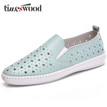 2018 New Women Flat Platform Genuine Leather Cut out Slip on Ladies Ballet Shoes Loafers Female Casual Ballerina Moccasins Shoes