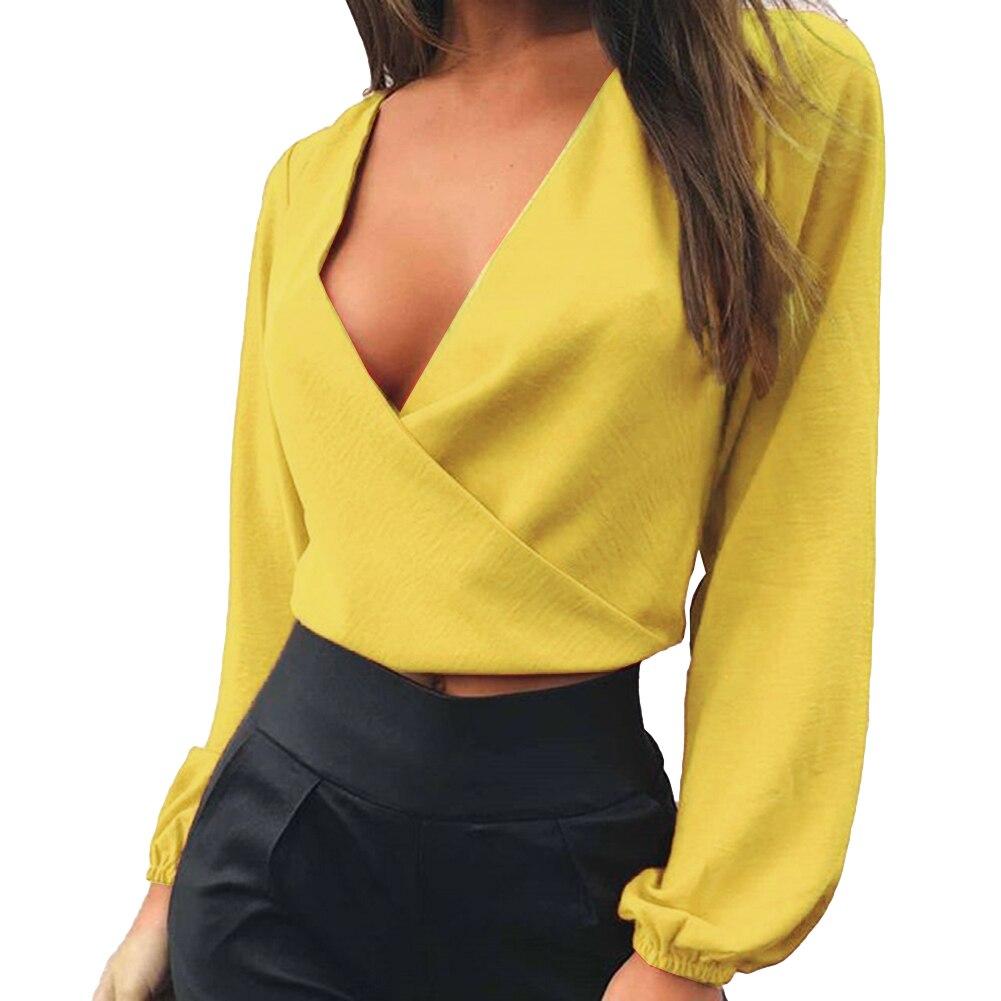 2018 Fashion Women Blouse Tie-Back Deep V Neck Long Sleeve Sexy Cutout  Shirt Crop 825feea194eb