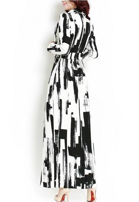 Design Taille Et De Longue Plus Tranchée Conception Revers Grand La Noir Outwear Mince Nouveau Automne 2017 Manteau Géométrique Blanc Mode BACwwq5