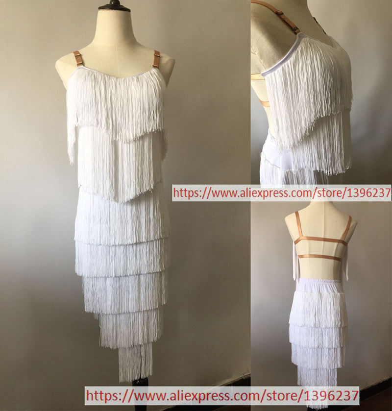 Standard Latin Dance Skirt Adult Competition Tassel Latin Dancing Dresses Custom Made Sexy Backless Balck Latin Dresses
