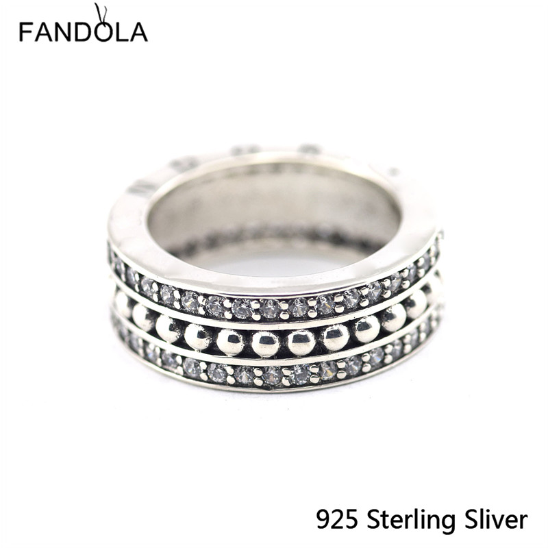 Original 925 Sterling Silver concise, Clear CZ Charms Ring Fit With Other Jewelry Fashio ...