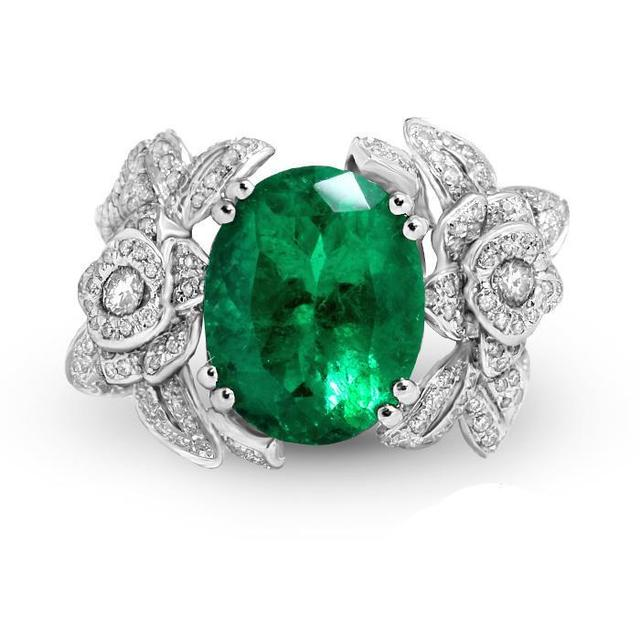 GICASA Boutique Big Oval Emerald Stones Rings Real 925 Sterling