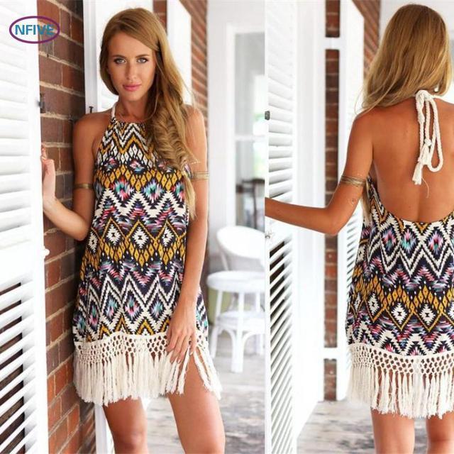 e9b7a2be9f NFIVE Brand2017New Summer Women Explosion Diamond Halter Backless Tassel  Printing Sleeveless Dress Fashion Slim Sexy Beach Dress