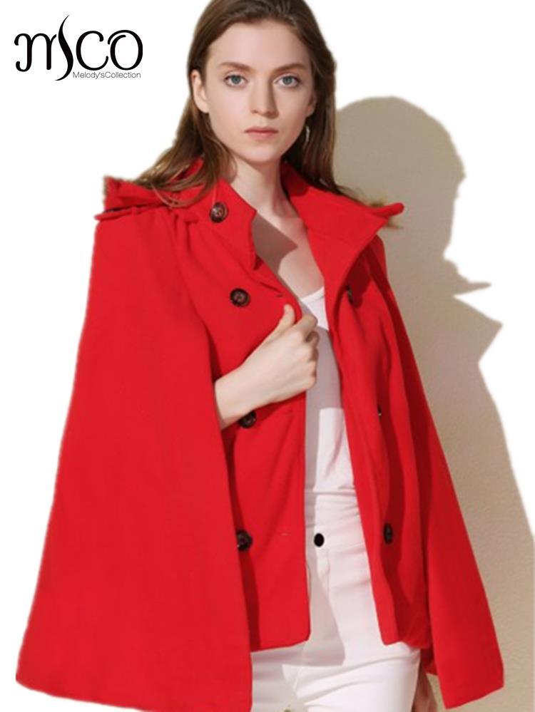 Nouveau Européenne Faux Fur Trim Capuche Mini Cape Manteau Vintage hiver  Chaud Poncho Court Tranchée Manteau Femmes Manteau Veste Haute qualité 838d287600f9