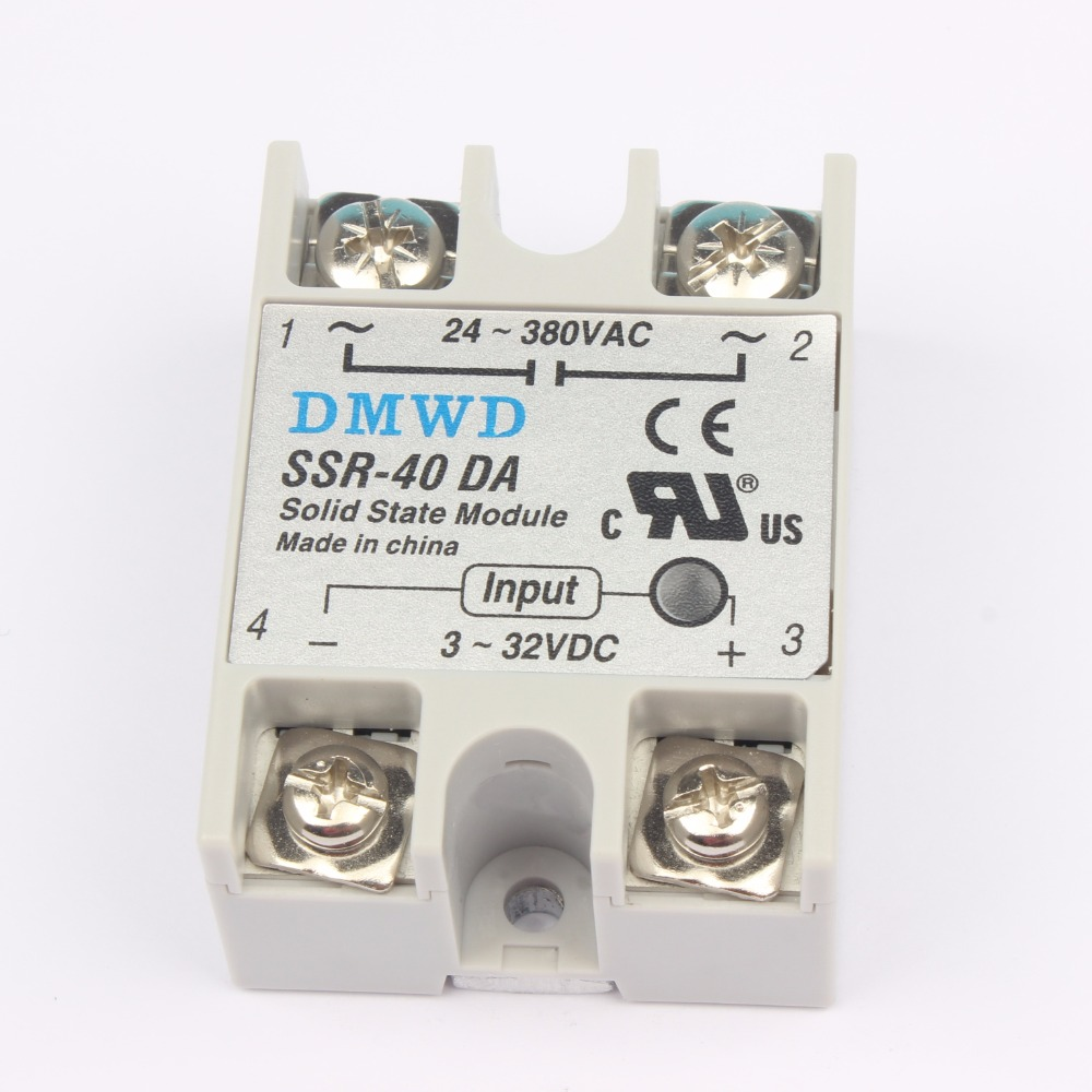 TOP BRAND DMWD 1pcs Free shipping solid state relay SSR-40DA 40A  actually 3-32V DC TO 24-380V AC SSR 40DA relay solid state 1pcs free shipping ssr soild state relay radiator radiator fin other spare parts mini