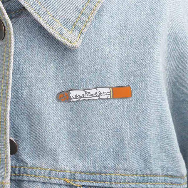 Hip Hop Enamel Pin Girls Never Knows Best Cigarette Brooches Anime FLCL  Metal Badge Lapel Denim 1dfc1bd37ce3