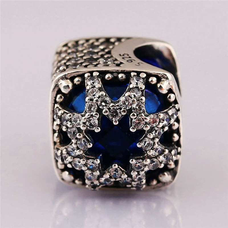 Trendy 925 Sterling Silver Blue Crystal Bead Glacial Beauty Charm Fit Original Pandora Bracelets Bangles Women DIY Jewelry Gift in Beads from Jewelry Accessories