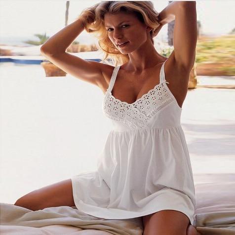 Women Sexy Spaghetti Strap Nightgown Women's 100%  Cotton Sleepwear Modal Lounge White Princess Short Skirt