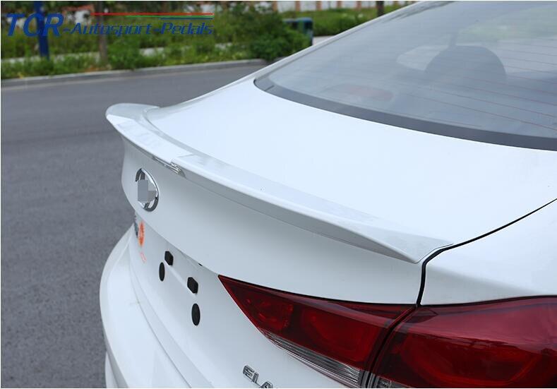 WHITE Rear Wing Trunk Aero Spoiler Trim For Hyundai Elantra (AD) Avante 2016 2017 paint car rear trunk lid aero wing spoiler for 13 17 ford ecosport 2013 2014 2015 2016 2017 by ems