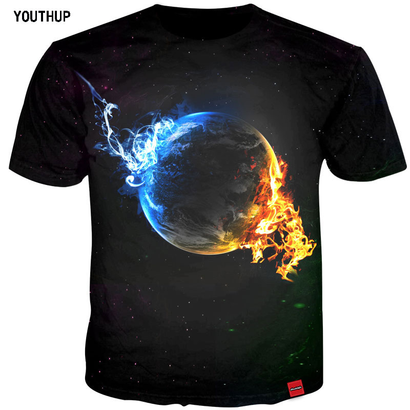 YOUTHUP 2018 Men T Shirts 3D Ice Fireball Printing Tops Tees Shirt Homme Short Sleeve Summer Tops Men Streetwear Plus Size 5XL
