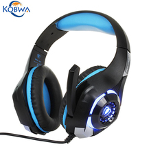 Kobwa LED Light Wired Gamer Headset HD Auriculares Estéreo Con control de volumen del mic para pc xbox one laptop tablet playstation 4