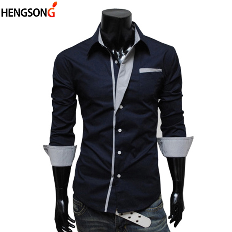 Fashion Men Casual Shirts Plus Size 3XL Slim Fit Long Sleeve Spring Autumn Shirt Outerwear Male White Shirt Tops Men's Clothing