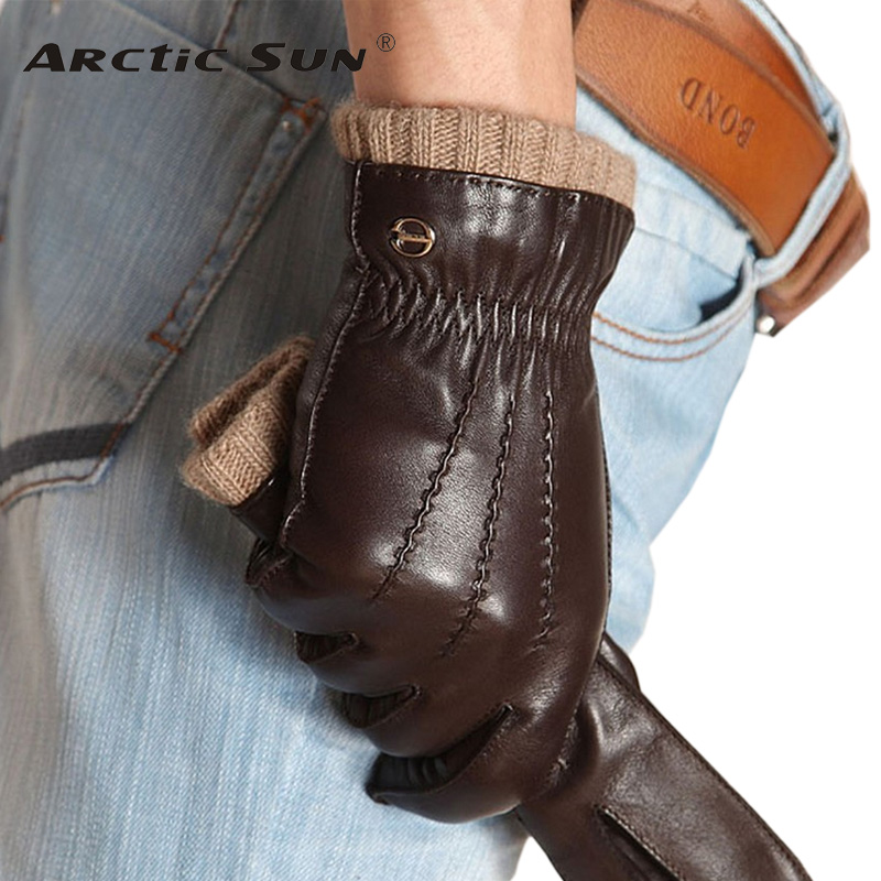 Fashion Leather Gloves Driving Knitted Lining Men Real Genuine Goatskin Glove Wrist Elastic Five Finger Free Shipping Em006wr