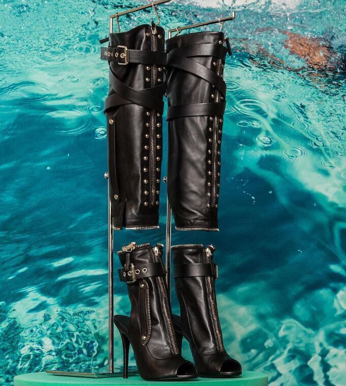 Señoras Slingback Toe Picture As Rodilla De La Alto Conectar Hebillas Nuevo Cremallera Del Cuero Motocicleta Talón Sexy Botas Negro Mujeres Peep 7xqAaO