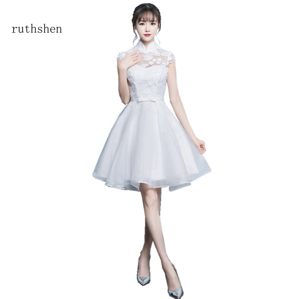 ruthshen Graceful High Neck Short Sleeves Lace   Cocktail     Dresses   2018 Fashion Bow Graduation   Dresses   Short Prom Party Gowns 2018