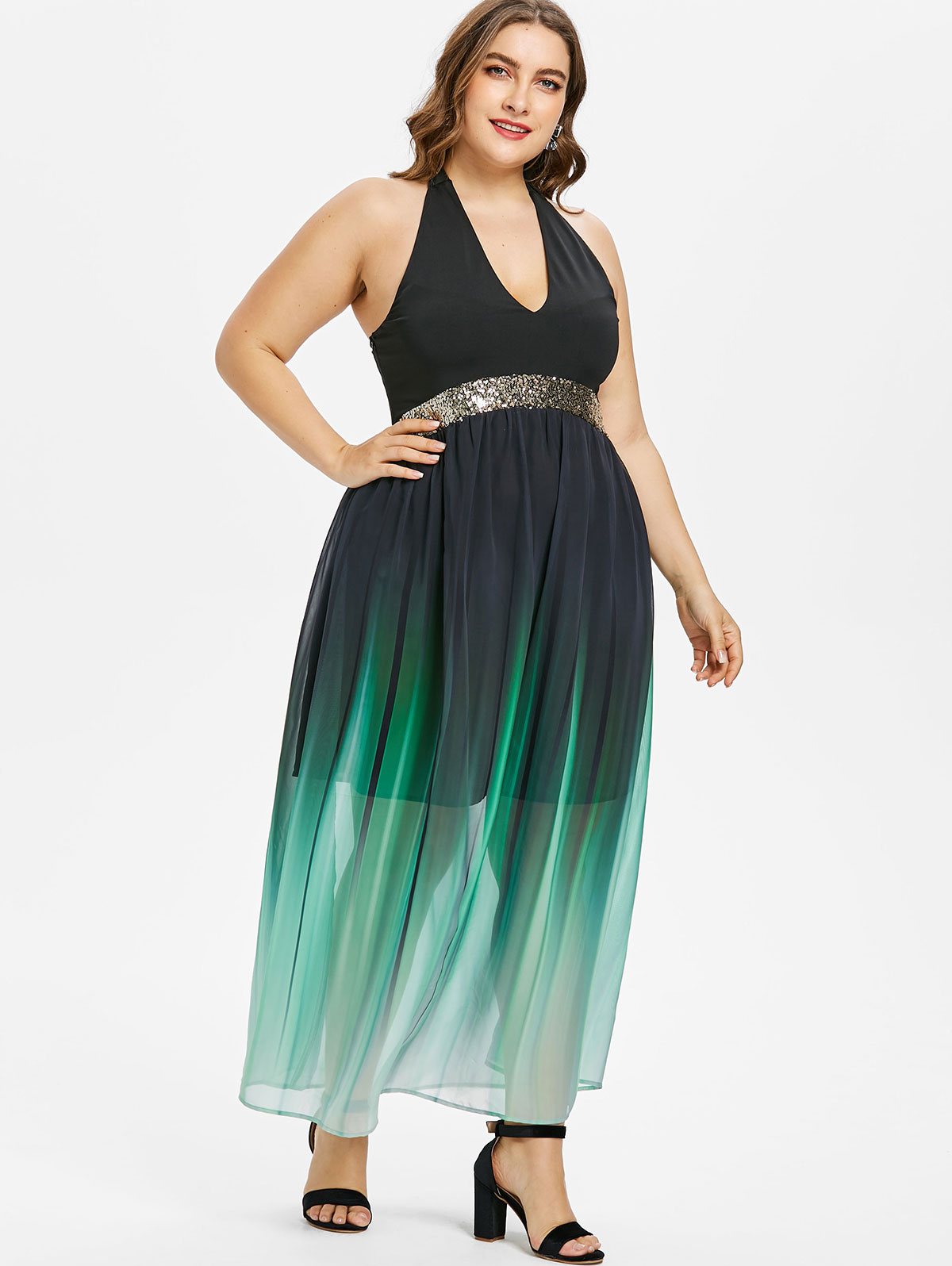 US $42.68 |Wipalo Plus Size Halter Neck Women Open Back Sequined Trim Ombre  Maxi Dress Sleeveless A Line Dress Party Sundresses Vestidos-in Dresses ...