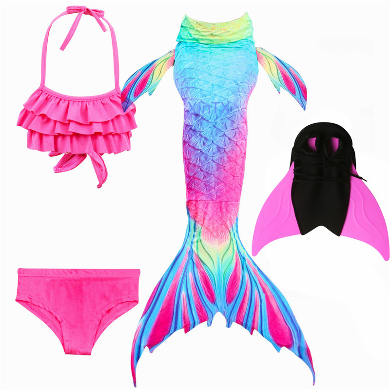 NEW Arrival!Fancy Mermaid tails with/No Fins Monofin Flipper mermaid swimming tails for Kids Girls Summer Beach Wear Swimsuits(China)