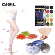 250g Hard Wax Beans Epilator  Hot Wax Heater Kit with 10pcs Wooden Sticks Wax Set Hair Removal for Face Bikini Beauty