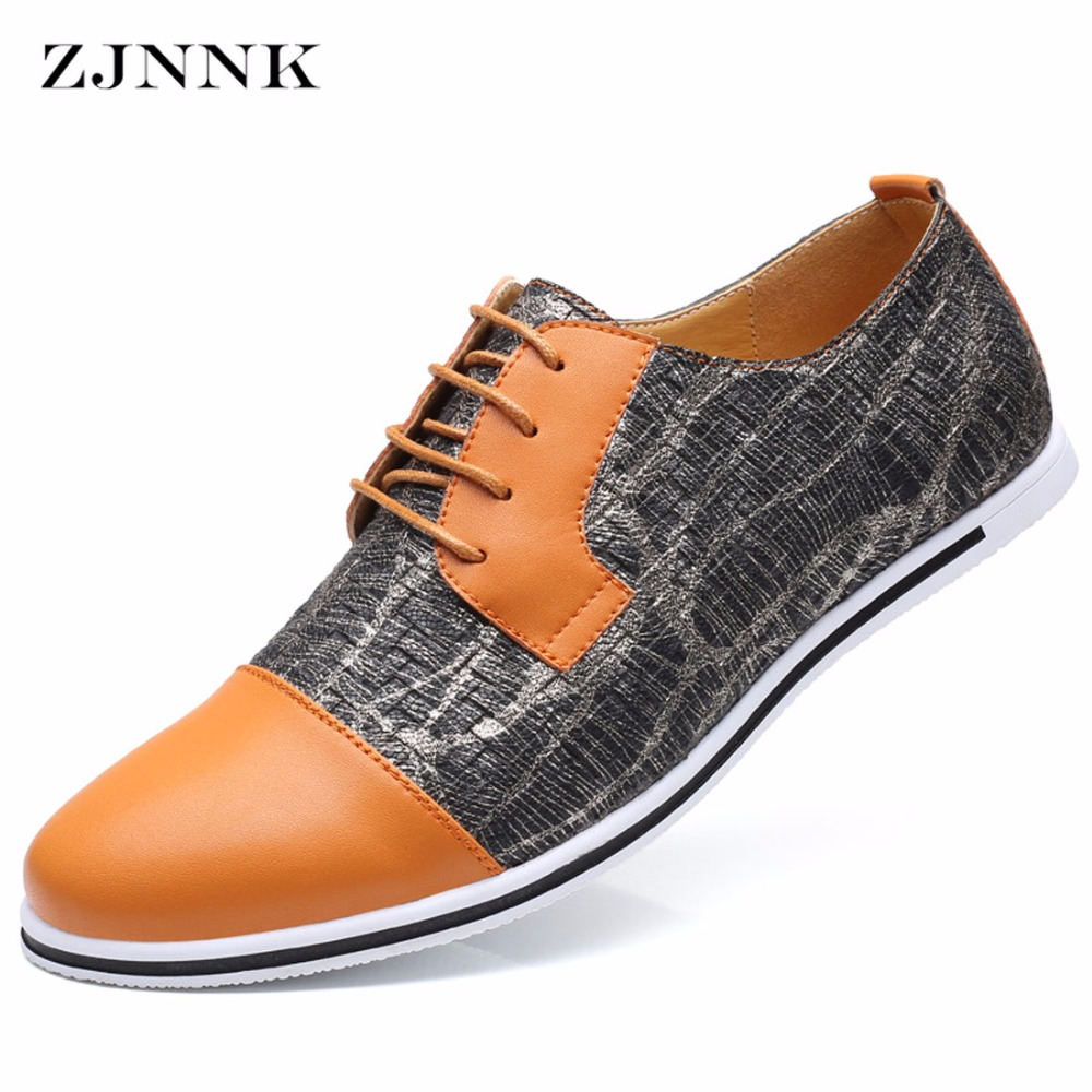 ZJNNK Big Size Men Casual Leather Shoes Korean Style Easy To Match Male Shoes Fashion Trendy Mixed Colors Mens Shoes Hot Sale 50 52 big size fashion casual male denim pants biker jean hot sale trousers cotton classic straight jeans for man