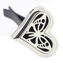 New Arrival 35mm Heart Shape 316 Stainless Steel Car Aromatherapy Essential Oil Diffuser Lockets Magnetics Perfume Locket