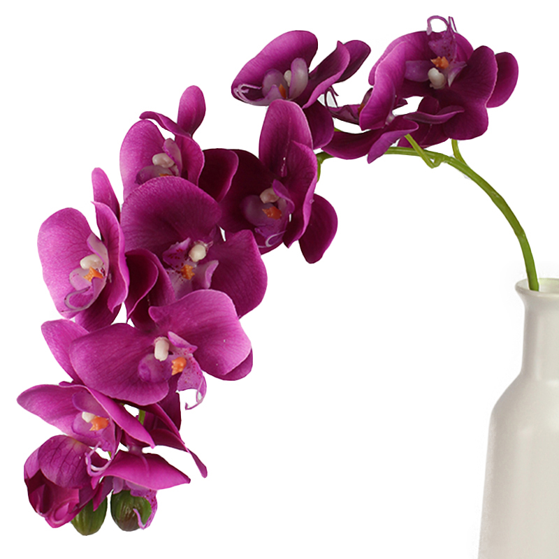 (EXTRA 25%OFF/3LOTS) (10Blooms+1Bud) 2Pieces/Lot Large Home Decoration Butterfly Orchid PU Latex Real Touch Phalaenopsis Flowers