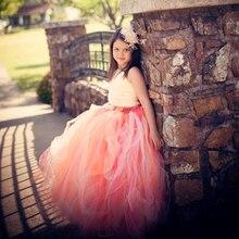 2016 Высокое качество Мода Цветок Девочки Платья Розовый Цветок 2-10Year Принцесса Драпированные Бальное платье Вечернее Платье Дети День Рождения