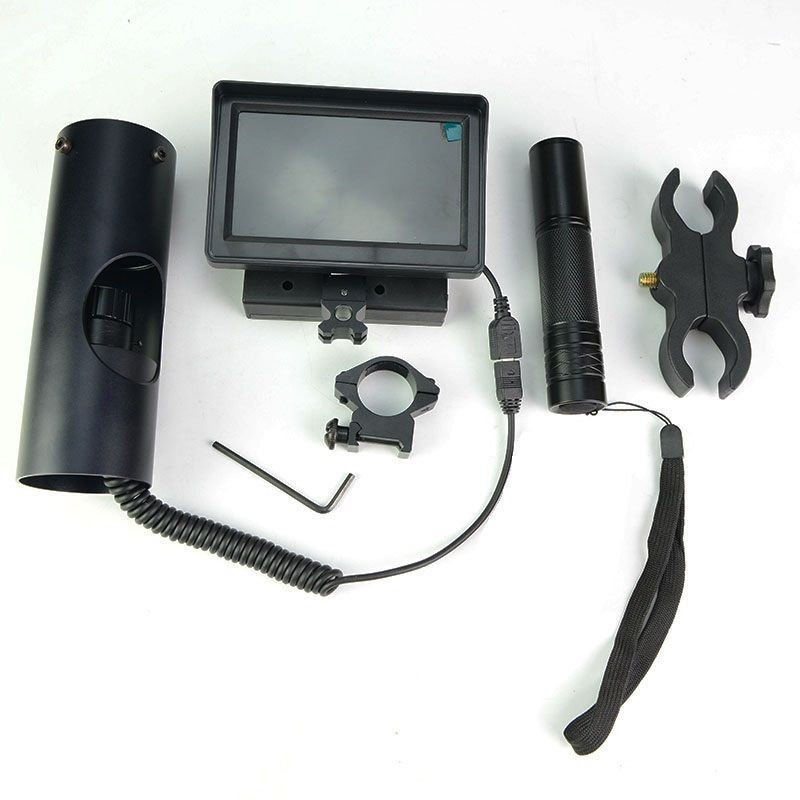 DIY Digital Camera Rifle Scope Add On Device LCD Display Screen Monitor IR Torch Infrared flashlight Night Vision Scope