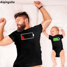 Aiqngsha Little Man Me Mini Baby Daddy and Me Clothes Charging Battery Shirts Father Mother Son Kids Daughter Matching Clothes