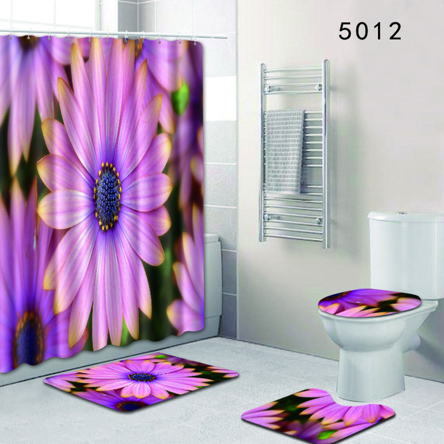 The 4 sets bathroom carpet and rug flowers Toilet seat cover bathroom curtain non-slip Colored flower carpet and shower curtain