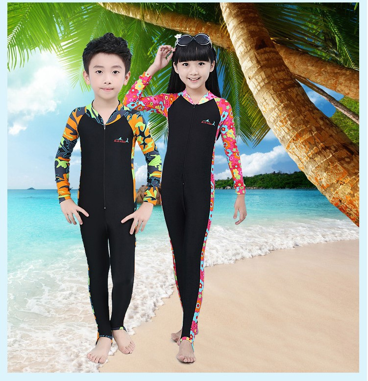 2018 Children's Diving Suits Boys and Girls One-piece Swimsuit Women Swimwear  Bikini for Children Beach Suit