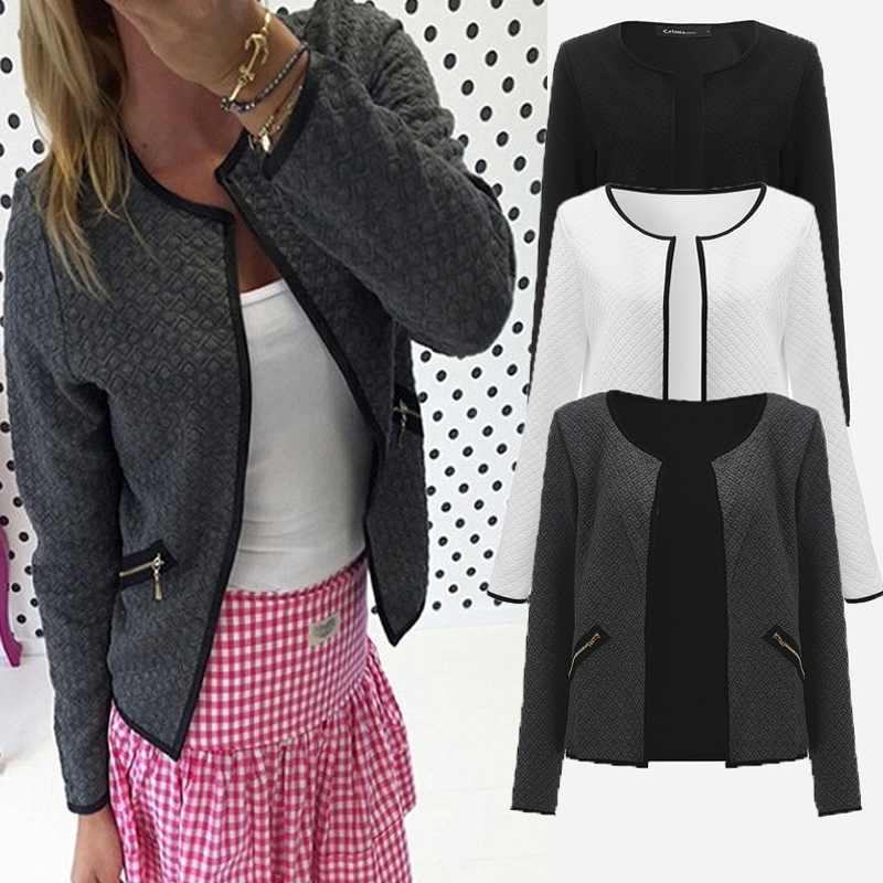 Plus Size Spring Autumn Plaid Women Thin Coats Short Jackets Casual Slim Blazers Suit Cardigans Female Outwear Black White 2017