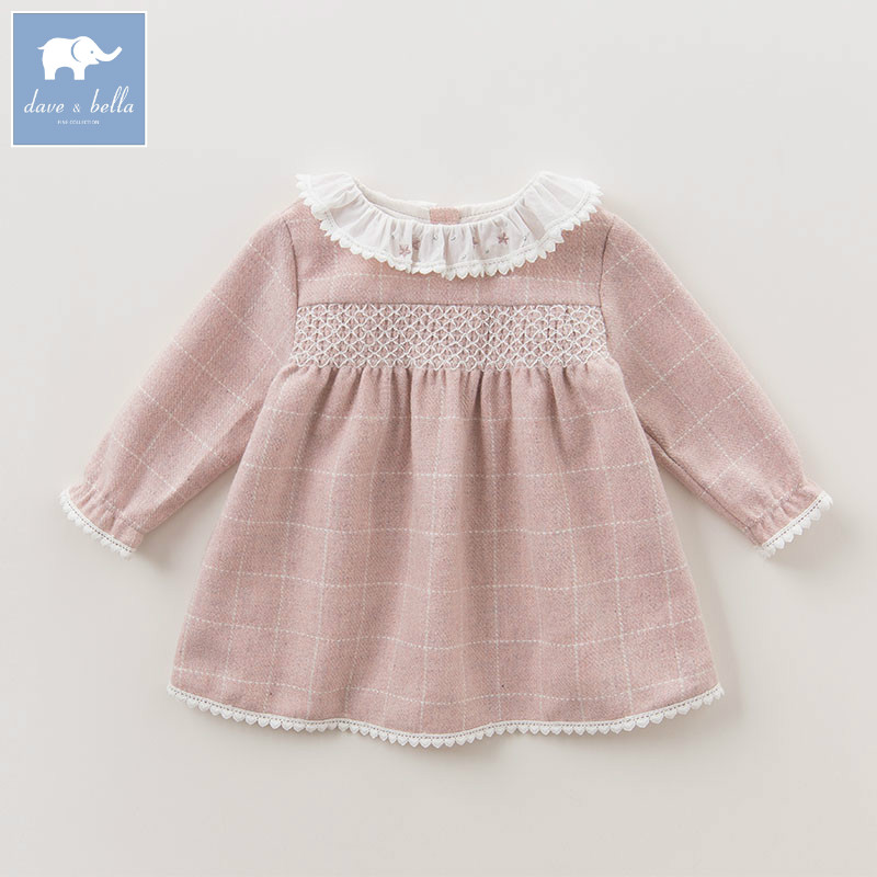 DBZ6132 dave bella baby Princess girl Wedding Birthday dress plaid Children Clothes Infant Designs GIRL'S Vestido baby princess girl wedding birthday