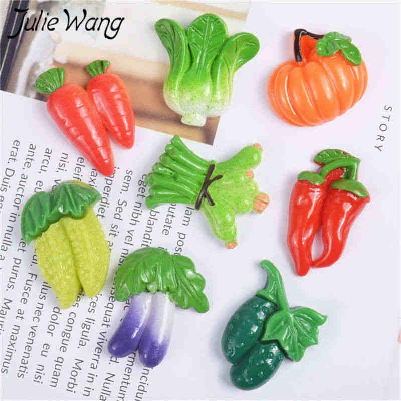 Julie Wang 10PCS Harz Gemüse Charms Karotte Chili Aubergine Kürbis Anhänger Schmuck Machen Zubehör Tabelle Decor Requisiten