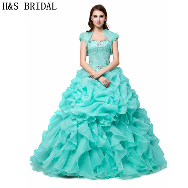 Mint Green Quinceanera Dresses Cheap Sweetheart Crystal Beaded Ruffles Organza Sweet 15 Debutante Girls Masquerade Prom
