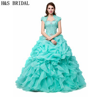 Mint Green Quinceanera Dresses Cheap Sweetheart Crystal Beaded Ruffles Organza Sweet 15 Debutante Girls Masquerade Prom Dresses