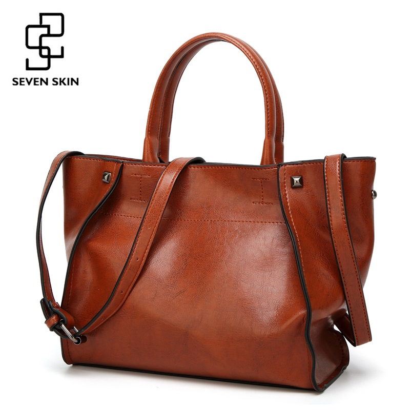 SEVEN SKIN Brand Fashion Women Solid Leather Bags Female Shoulder Bags Women Handbag Large Capacity Tote Bag 2017 New Designer new arrival famous brand canvas handbag fashion casual bags designer women shoulder bag solid zipper handbag large capacity bag