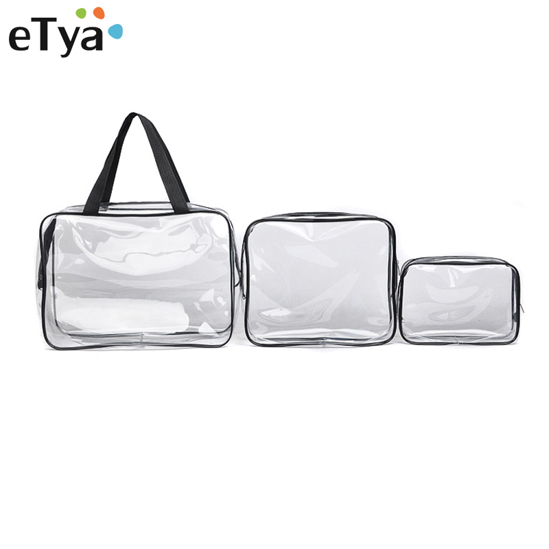 все цены на eTya Transparent PVC Cosmetic Bag Men Women Travel Makeup Bag Make up Organizer Wash Storage Pouch Toiletry Kit Case Handbag Hot