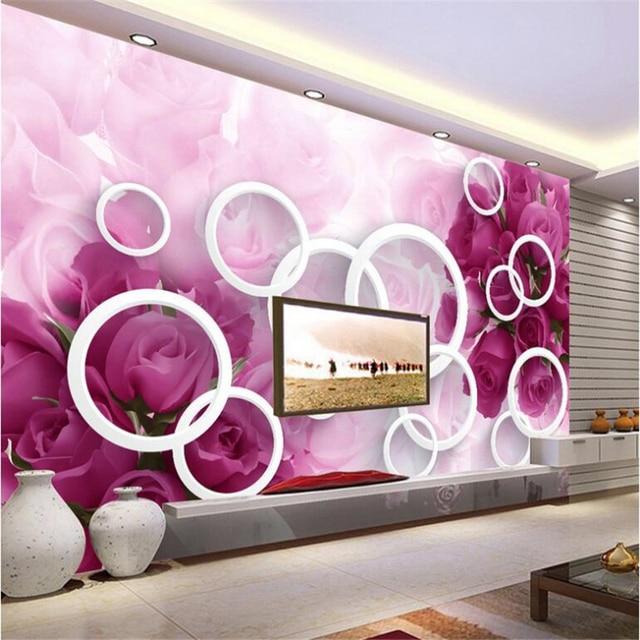 beibehang Large Custom Wallpaper 3D Dream Purple Rose Living Room ...