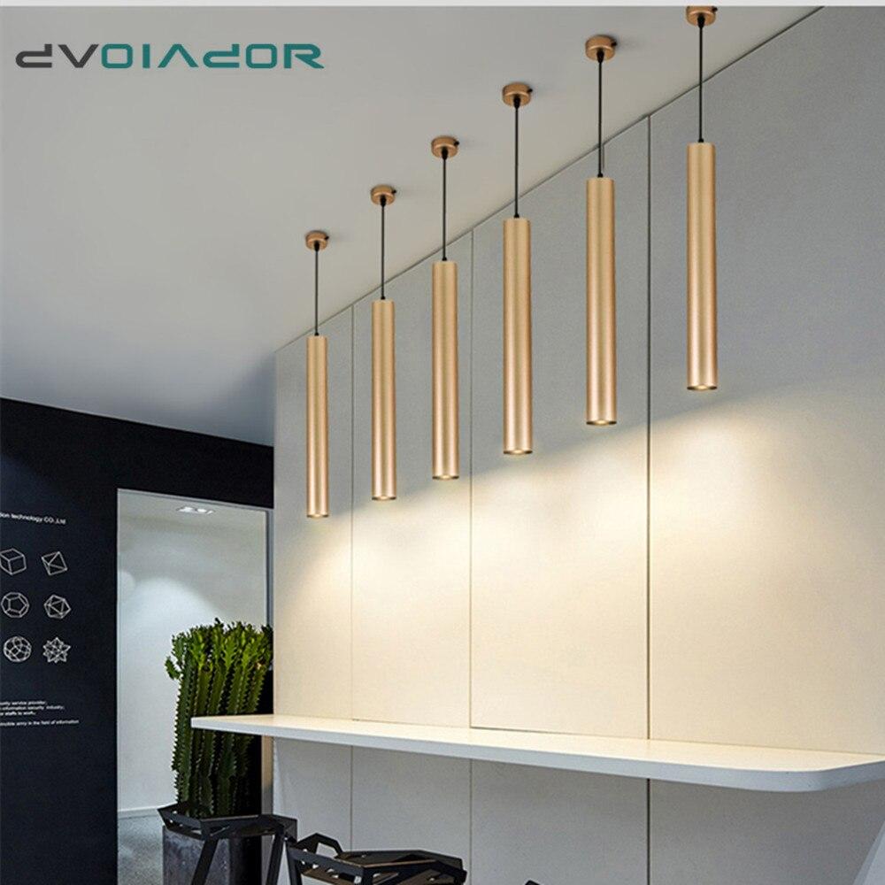 Modern Led Pendant Lamp Long Tube Hanging Lamp Kitchen Island Dining Room Lamp Shop Bar Decoration Cylinder Pipe Pendant Light