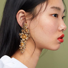 JUJIA ZA METAL FLOWER EARRINGS vintage metal statement drop Earring for lady jewelry Factory Price(China)