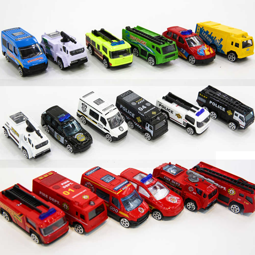 Fire Fighter Truck Set City Vehicles Toys Mini 6Pcs Diecasts Metal Alloy Classic Toys Children Learning Education New Year Gift