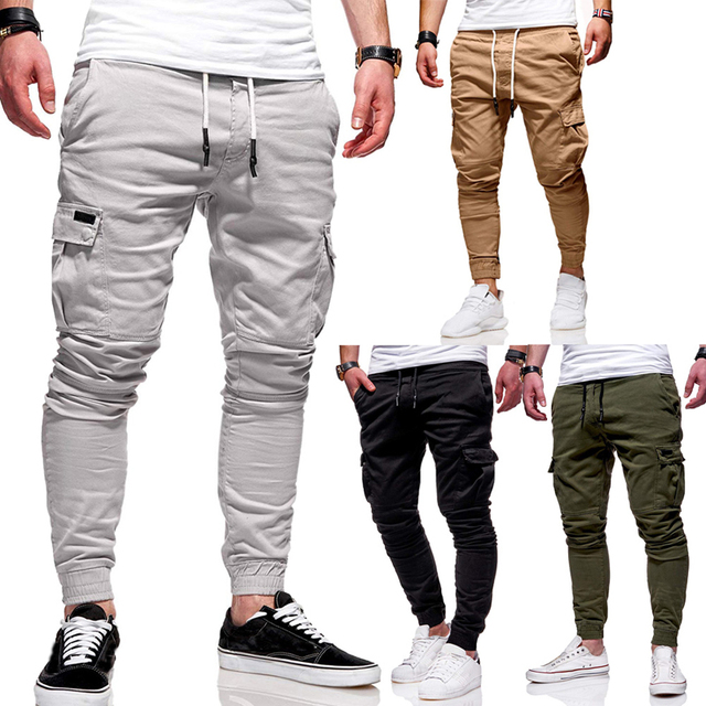 Solid Multi-pocket Joggers Pants 2