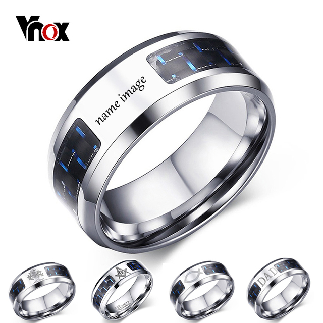 Vnox Personalize Logo Image Name 8mm Carbon Fiber Ring For Women Men Stainless Steel Wedding Band