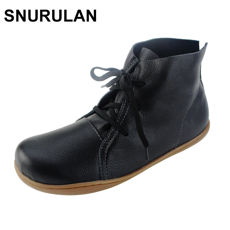 SNURULAN Women Ankle Boots Hand-made Genuine Leather Woman Boots Spring Autumn Square Toe lace up Shoes Female Footwear 2017 xiangban women ankle boots handmade genuine leather woman short boots spring autumn round toe female footwear